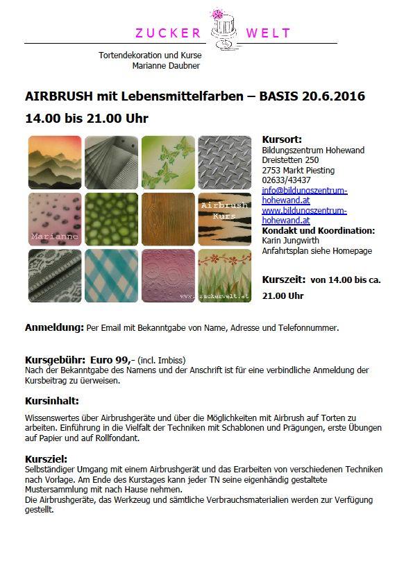 Airbrushkurs mit Lebensmittelfarben | Markt Piesting & Dreistetten