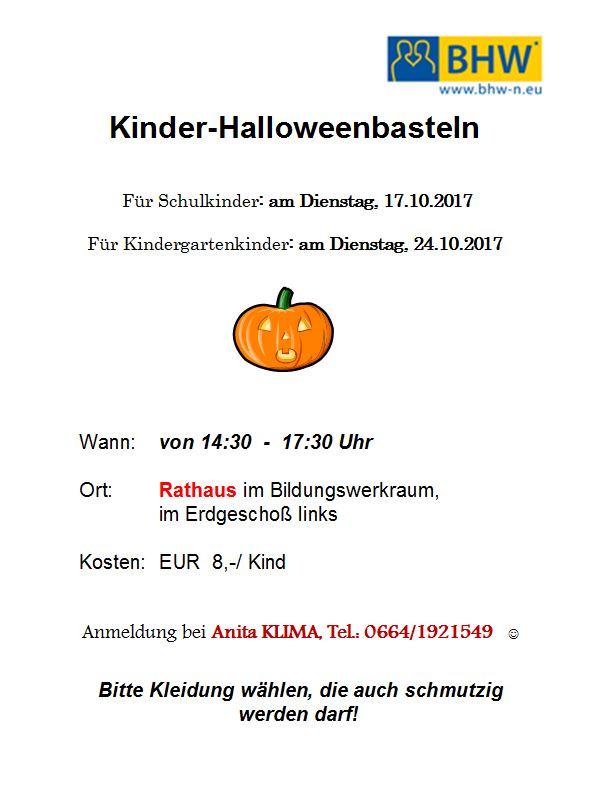 Halloween-Basteln für Kindergartenkinder   Markt Piesting & Dreistetten