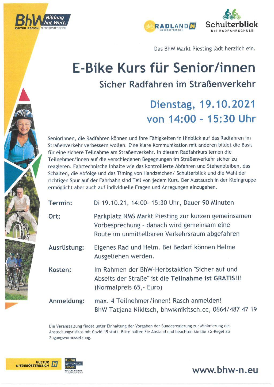 E-Bike Kurs für Senior/innen